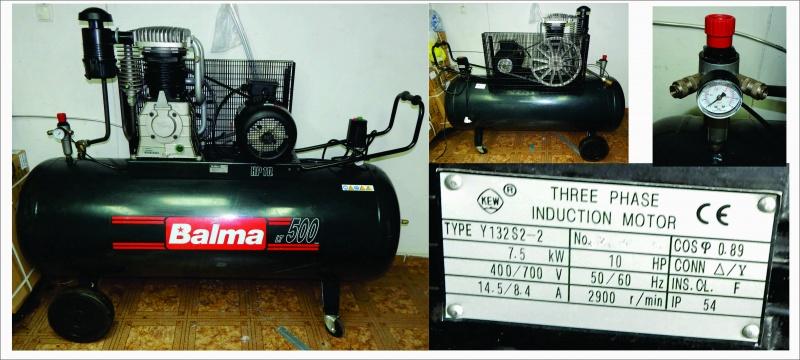 Kompresor sa trofaznim motorom od 7,5 KW i bocom od 500 litara